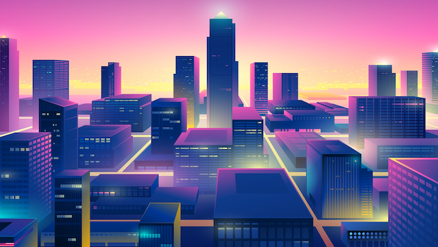 Futuristic,Night,City.,Cityscape,On,A,Colorful,Background,With,Bright