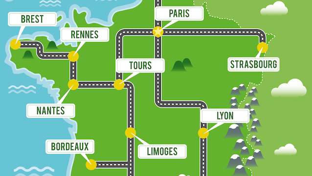 Cartoon,Vector,Map,Of,France.,Travel,Illustration,With,French,Main
