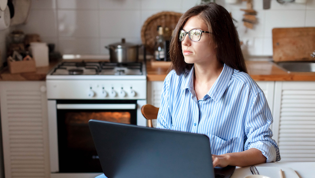 Remote,Work,From,Home,Office.,Young,Woman,Using,Laptop.,Freelancer