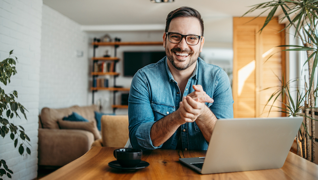 Portrait,Of,A,Successful,Entrepreneur,At,Cozy,Home,Office,,Smiling